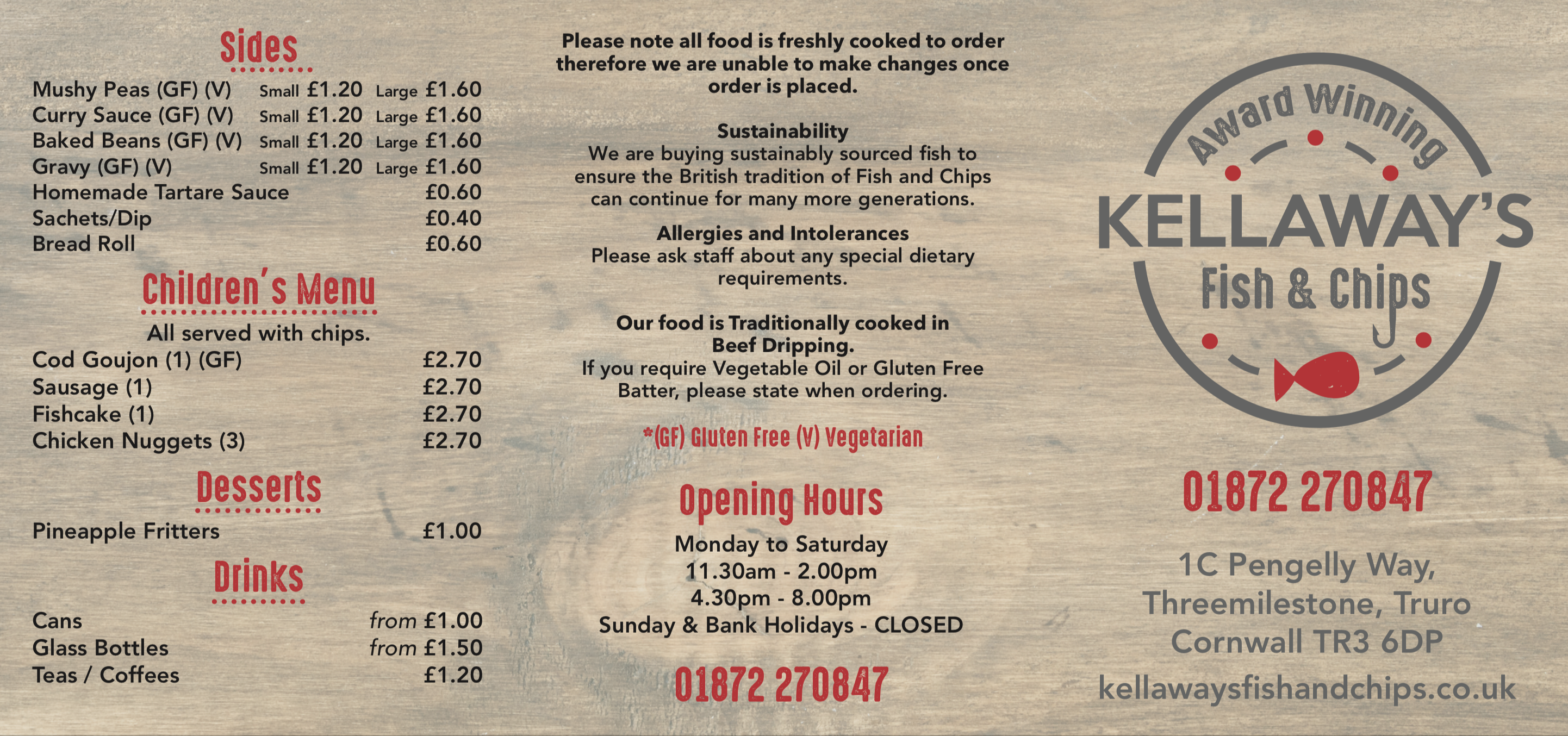 Kellaways Fish and Chips - Price List